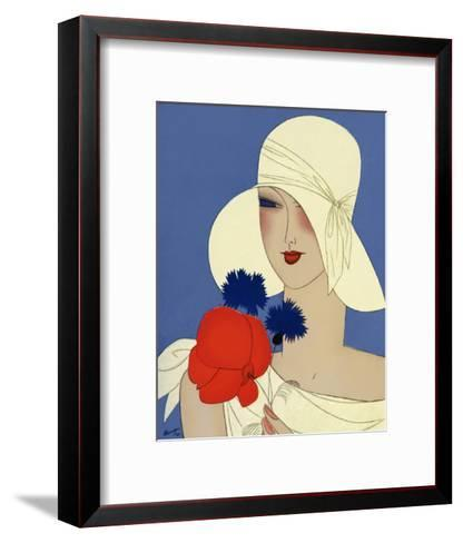 Art Deco Lady with a Large Red Flower--Framed Art Print