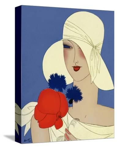 Art Deco Lady with a Large Red Flower--Stretched Canvas Print
