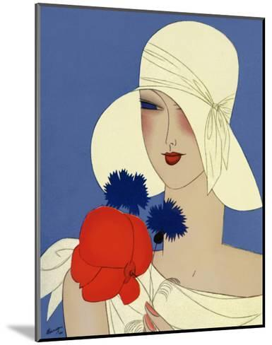Art Deco Lady with a Large Red Flower--Mounted Art Print