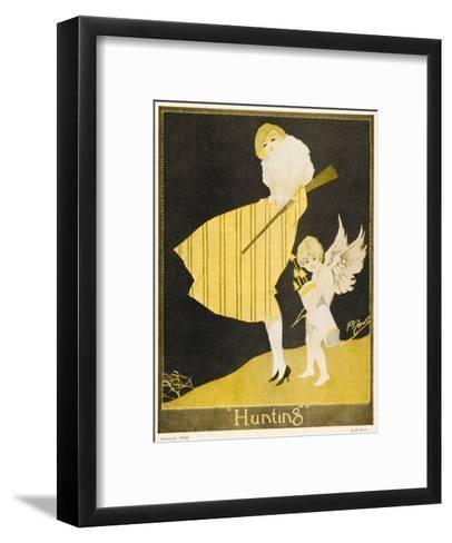 Lady and Cupid Hunting--Framed Art Print