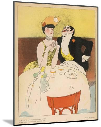 Art Deco Couple Fine Dining--Mounted Art Print
