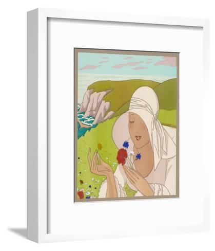 Lady on Cliff with a Flower--Framed Art Print