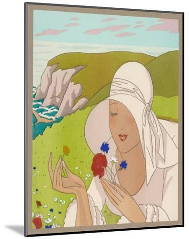 Lady on Cliff with a Flower--Mounted Art Print