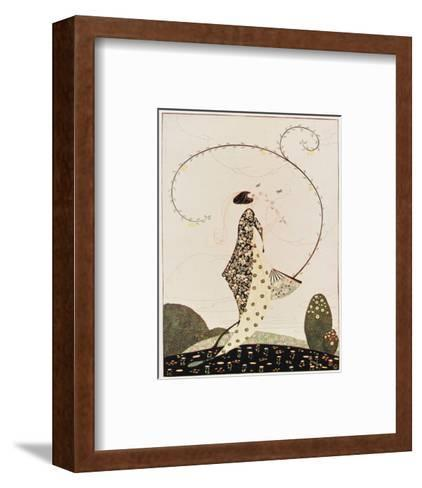Art Deco lady with Fan--Framed Art Print