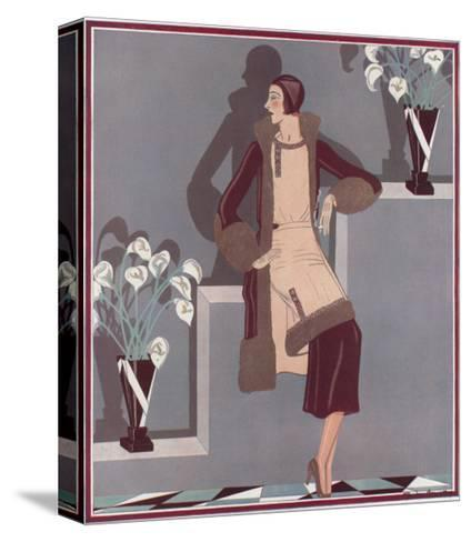 Art Deco Female and Flowers--Stretched Canvas Print
