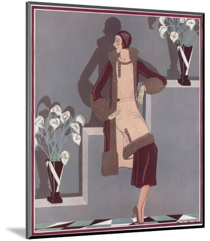Art Deco Female and Flowers--Mounted Art Print