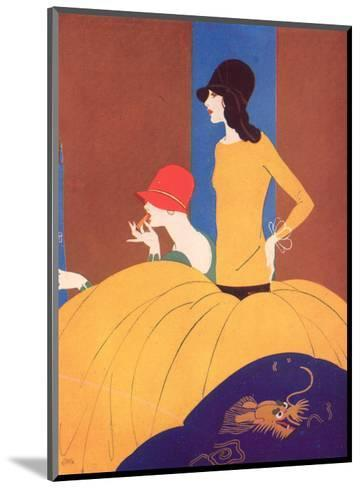 Art Deco Two Women Doing Make Up.--Mounted Giclee Print