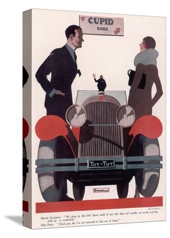 Art Deco Cupid Cars--Stretched Canvas Print