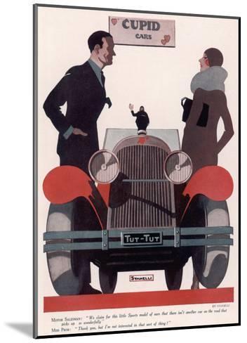 Art Deco Cupid Cars--Mounted Art Print
