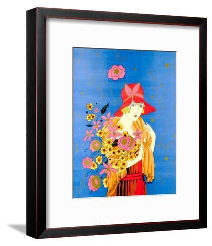 Art Deco Lady with Flowers--Framed Art Print