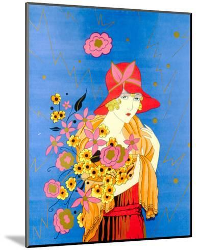 Art Deco Lady with Flowers--Mounted Art Print