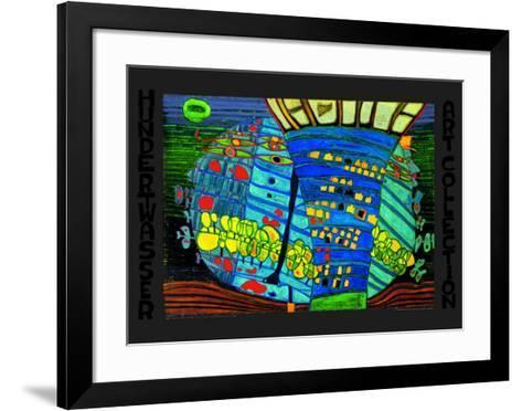 Blue Moon-Friedensreich Hundertwasser-Framed Art Print