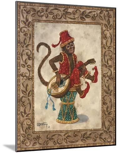 Monkey with Mandolin-Janet Kruskamp-Mounted Art Print
