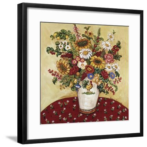 Rooster Vase Floral-Suzanne Etienne-Framed Art Print