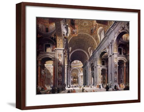 Interior of St. Peter's, Rome-Giovanni Paolo Pannini-Framed Art Print