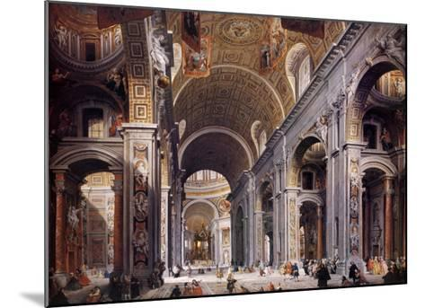 Interior of St. Peter's, Rome-Giovanni Paolo Pannini-Mounted Art Print