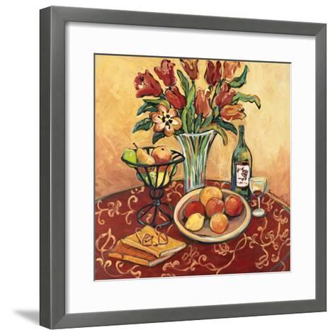 Red Flower on Still Life-Suzanne Etienne-Framed Art Print