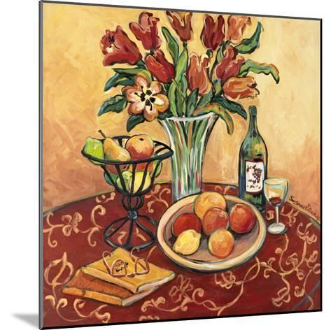 Red Flower on Still Life-Suzanne Etienne-Mounted Art Print