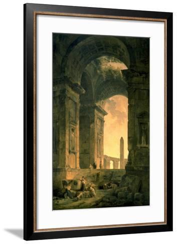 The Landscape with Obelisk-Hubert Robert-Framed Art Print