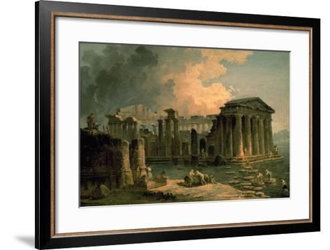 Ruins of a Doric Temple-Hubert Robert-Framed Art Print