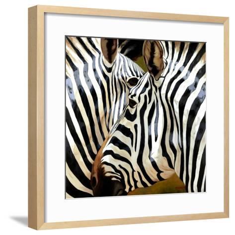 Zebra Close-up-Arcobaleno-Framed Art Print