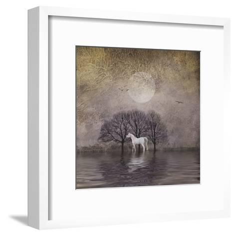White Horse in Pond-Dawne Polis-Framed Art Print