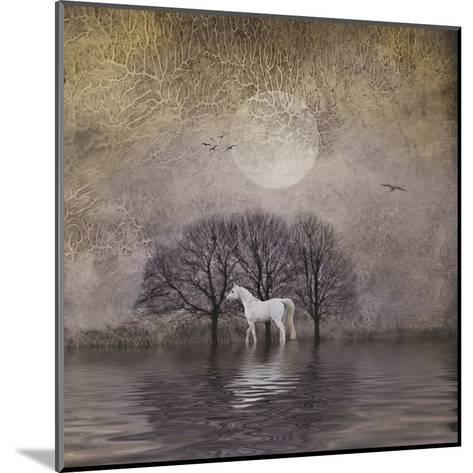 White Horse in Pond-Dawne Polis-Mounted Art Print