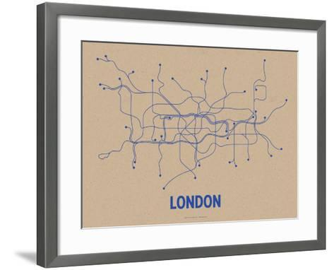 London (Oatmeal & Blue)-LinePosters-Framed Art Print