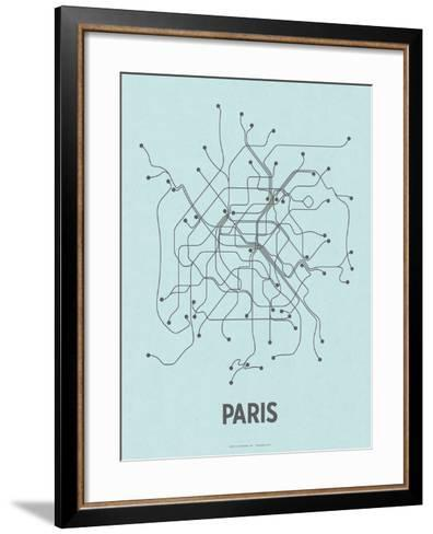 Paris (Light Blue & Dark Gray)-LinePosters-Framed Art Print