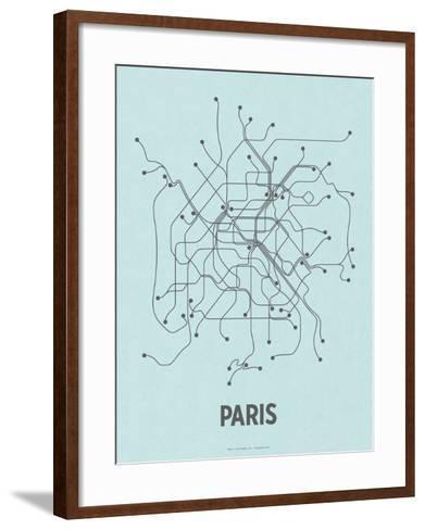 Paris (Light Blue & Dark Gray)-Line Posters-Framed Art Print