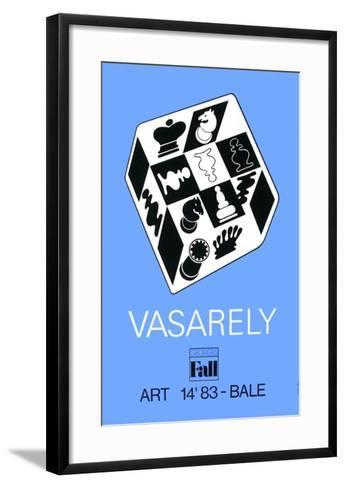 Expo Art Basel 83 - Echecs fond bleu-Victor Vasarely-Framed Art Print