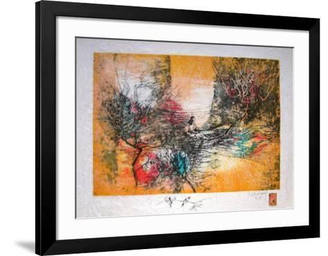 Papier De Riz - Sur Le Lac-Lebadang-Framed Art Print