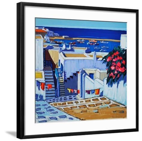 Mykonos : linge au soleil-Jean Claude Quilici-Framed Art Print