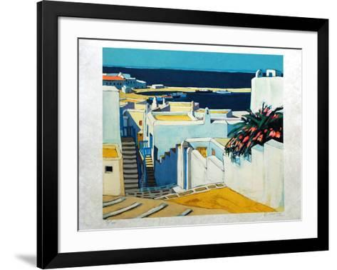 Mykonos : descente sur le port-Jean Claude Quilici-Framed Art Print