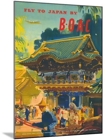 British Overseas Airways Corporation: Fly to Japan by BOAC, c.1950s-Frank Wootton-Mounted Giclee Print