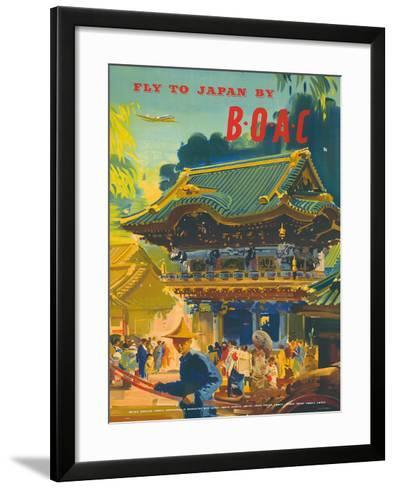 British Overseas Airways Corporation: Fly to Japan by BOAC, c.1950s-Frank Wootton-Framed Art Print
