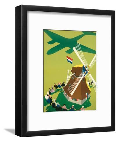 KLM Royal Dutch Airlines: Holland Windmill, c.1945-Paul Brillens-Framed Art Print