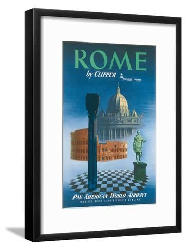 Pan American: Rome by Clipper - Vatican and Coliseum, c.1951--Framed Art Print