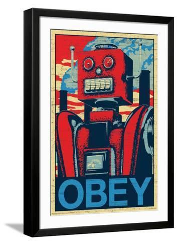 Robot Obey--Framed Art Print