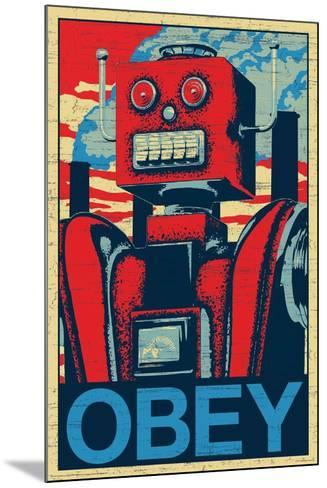 Robot Obey--Mounted Poster