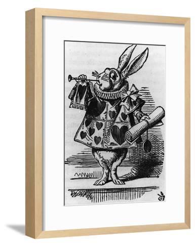 Rabbit with Trumpet-John Tenniel-Framed Art Print