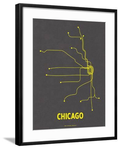 Chicago (Dark Gray & Yellow)-LinePosters-Framed Art Print