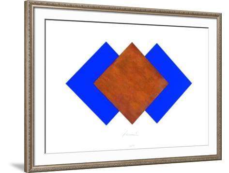 Quadrate Rost & Blau-J?rgen Freund-Framed Art Print