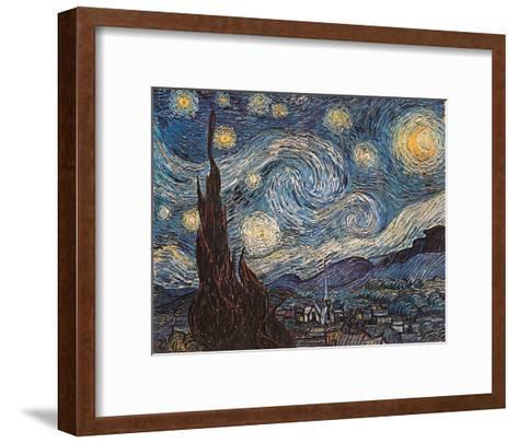 Starry Night, White Border, Text-Vincent van Gogh-Framed Art Print