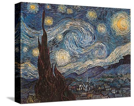 Starry Night, White Border, Text-Vincent van Gogh-Stretched Canvas Print