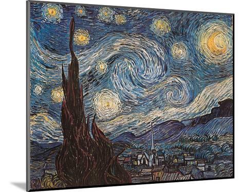 Starry Night, White Border, Text-Vincent van Gogh-Mounted Art Print