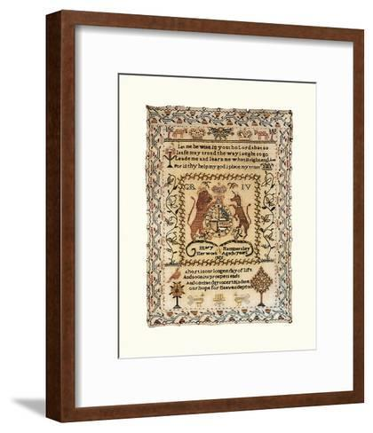 Sampler with Coat of Arms-Mary Hammersley-Framed Art Print