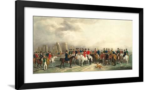 A Meeting of the Welsh Beagling Hounds at Stonehenge-William Barraud-Framed Art Print