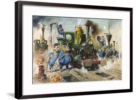 The Running Sheds of the Great Caerphilly and Vole-Tail Central Railway-Terence Cuneo-Framed Art Print