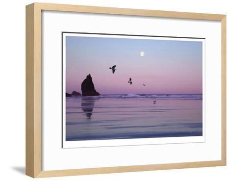 Canon Beach Sunset-Donald Paulson-Framed Art Print